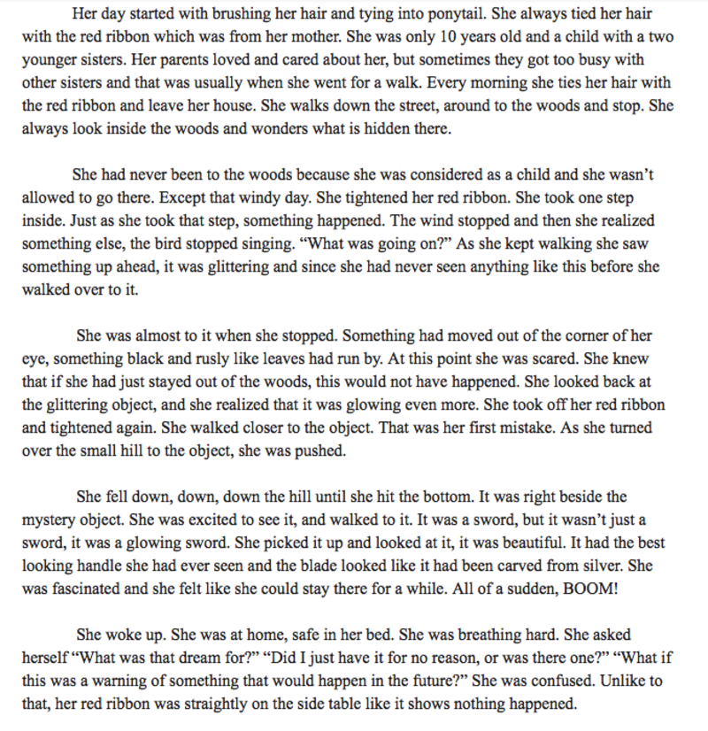 I have to write a short story for my English class  (It's one page